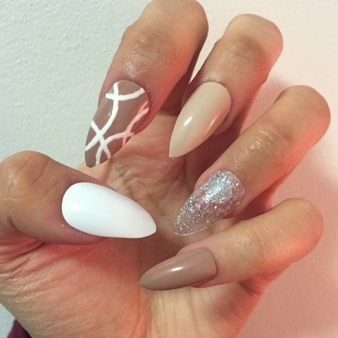 Gorgeous White Light Brown Stiletto Nails With White Design Depop