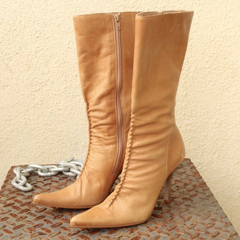 81a2f9ab7aa 90 s Vintage Point Toe Leather Boots AmaZing and rare pair - Depop