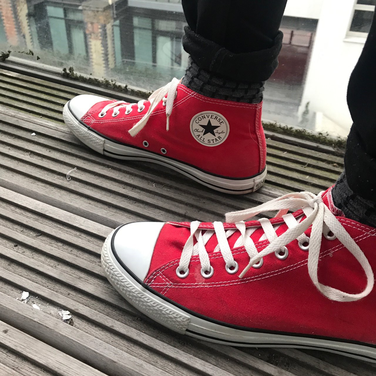3f9bb7c8749f Authentic Converse Red All Star Chuck Taylor high tops. Some - Depop