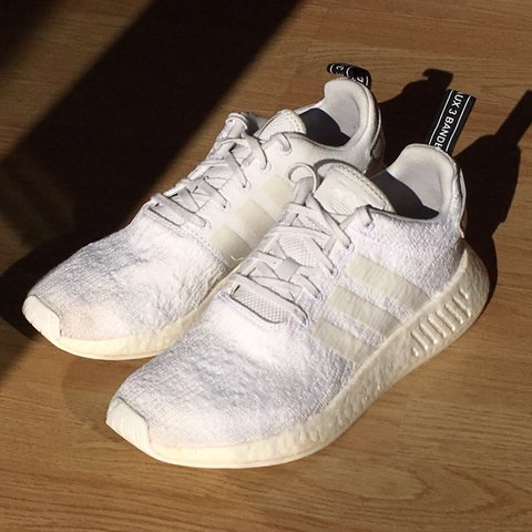 a8dd2aaede08d Adidas NMD r2 triple white size 9 uk. Worn few times still - Depop