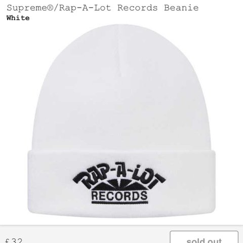 cf369cb5d Supreme Rap-A-Lot Records Logo Beanie Hat White Box... - Depop