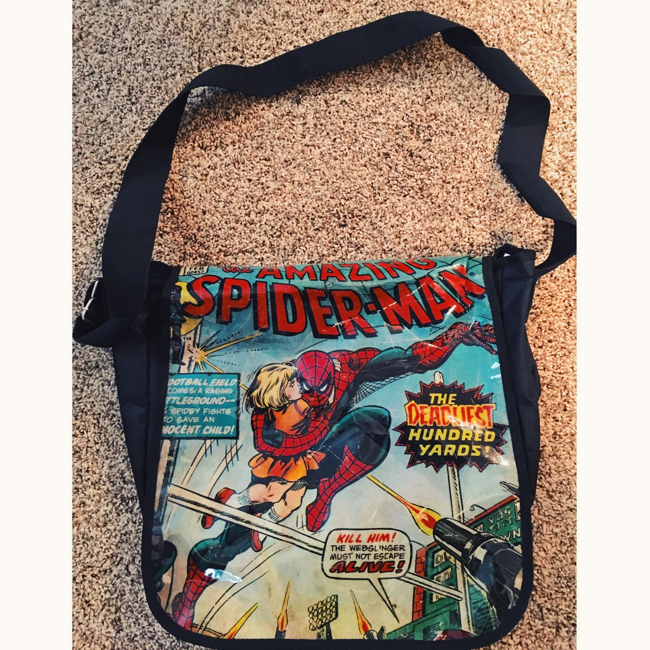 5a014980c1 Marvel comics AMAZING SPIDER-MAN book bag  messenger tote I - Depop