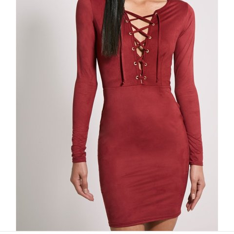 5dcbba02ea15 Dark red suedette mini dress. Pretty Little Thing Size 8 fit - Depop