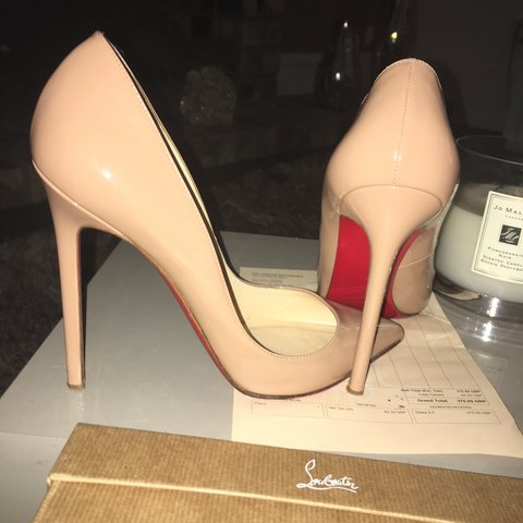 44182415fee3 Christian Louboutin Pigalle 120 Patent Calf Nude ❤ worn a i - Depop