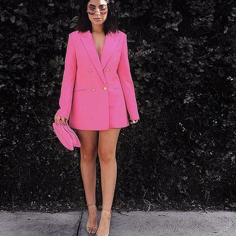 003301bd33f7 Quiz Pink Blazer . oversized but fits nice wore with cycling - Depop