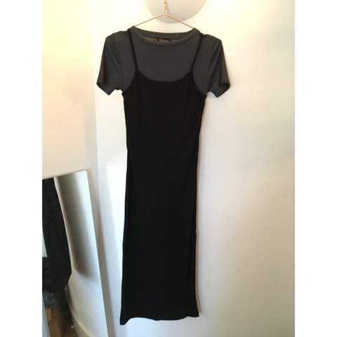 dd9658ec879 Topshop Black midi jersey slip dress with attached grey tee - Depop