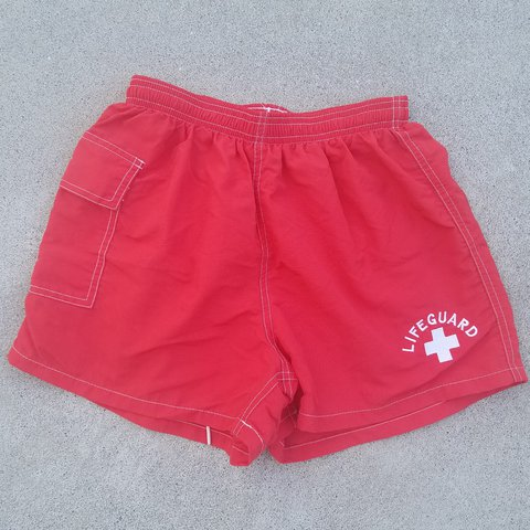 002e60c7e2 FREE SHIPPING AUTHENTIC LIFEGUARD SWIM SHORTS Red swim a - Depop