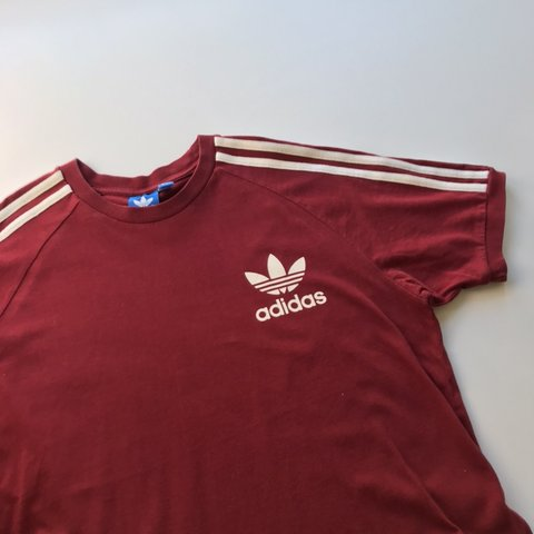25a954de @berryvintage. 6 days ago. London, United Kingdom. Vintage Adidas logo t- shirt in dark red with white ...