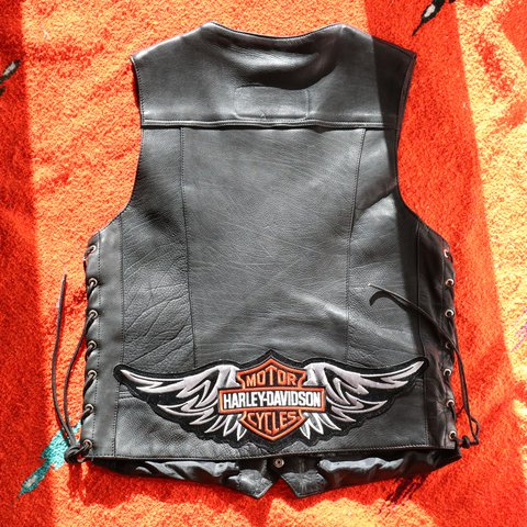 Side Laced Motorcycle Vest With Harley Davidson Pins Patch Depop