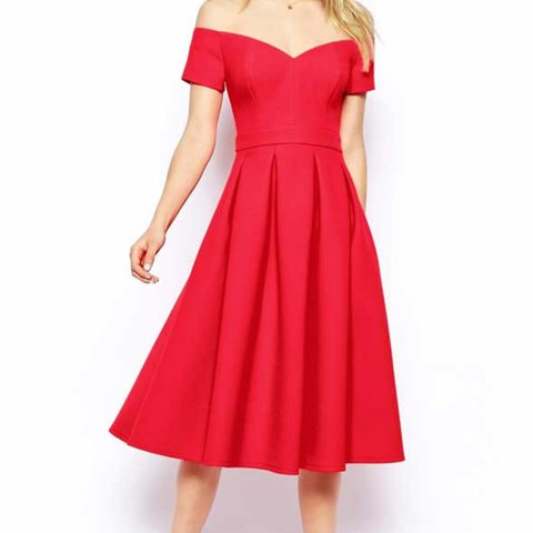 9957ecd56a6 Gorgeous ASOS Premium Red Bardot Dress Lovely thick this I - Depop