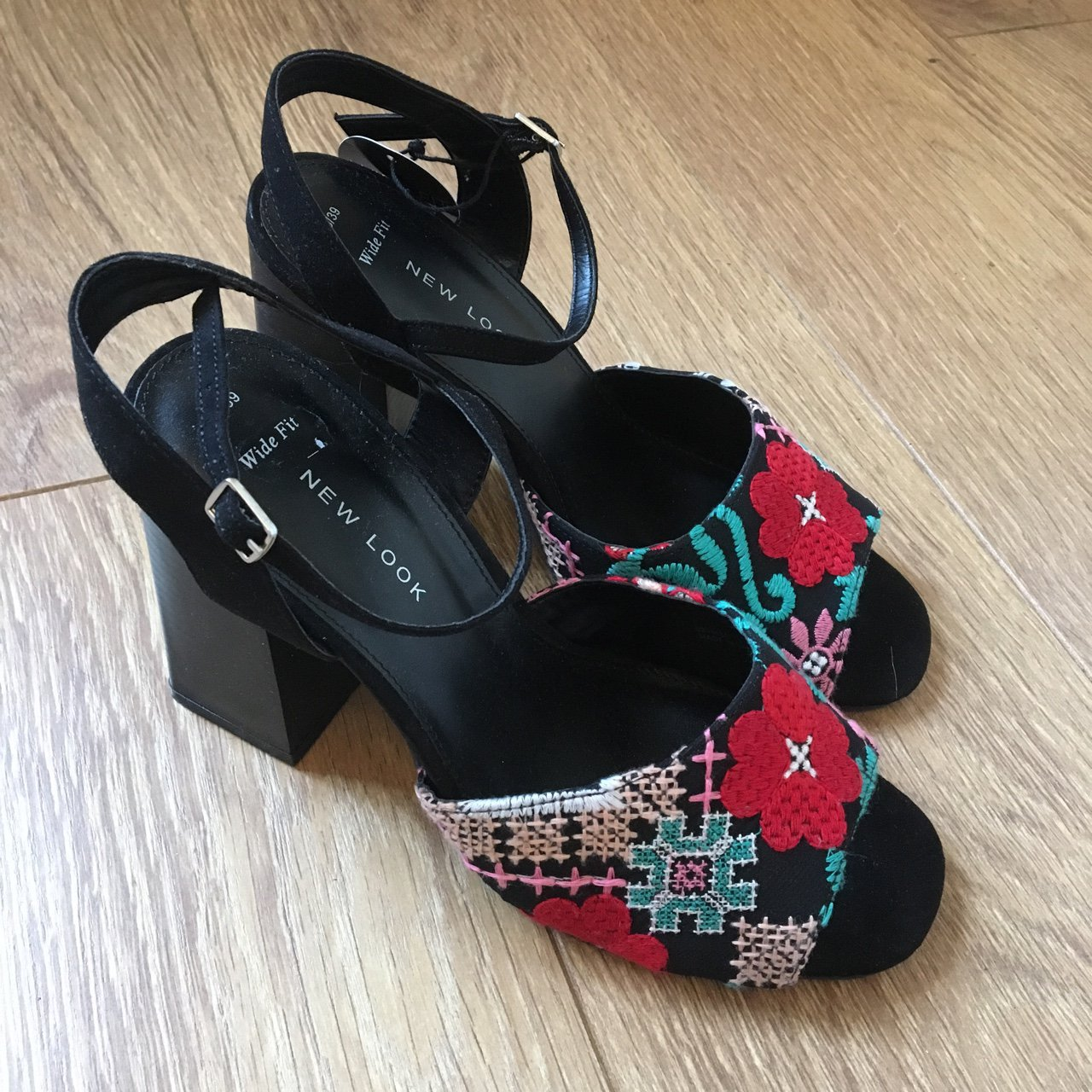 6be7d04ac05 Black colourful embroidered block heels. Size 6. 4 4.5