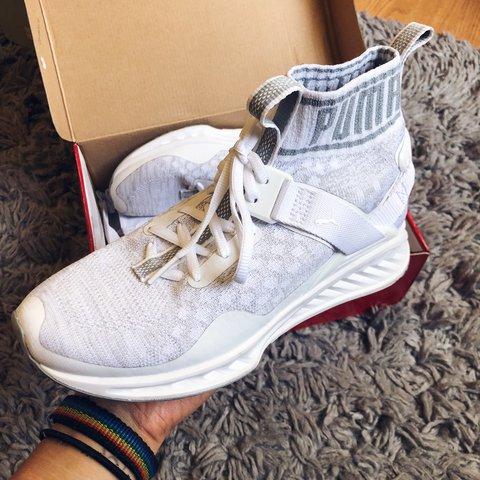 white puma ignite evoknit trainers   originally  110   - - Depop 6a2853cd1