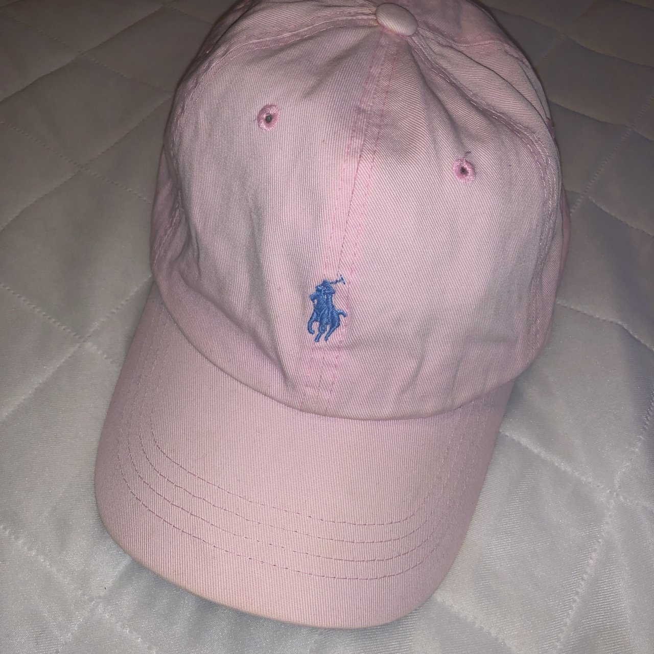 preowned vintage pale light pink polo hat with light blue - Depop 6ddca5fc993