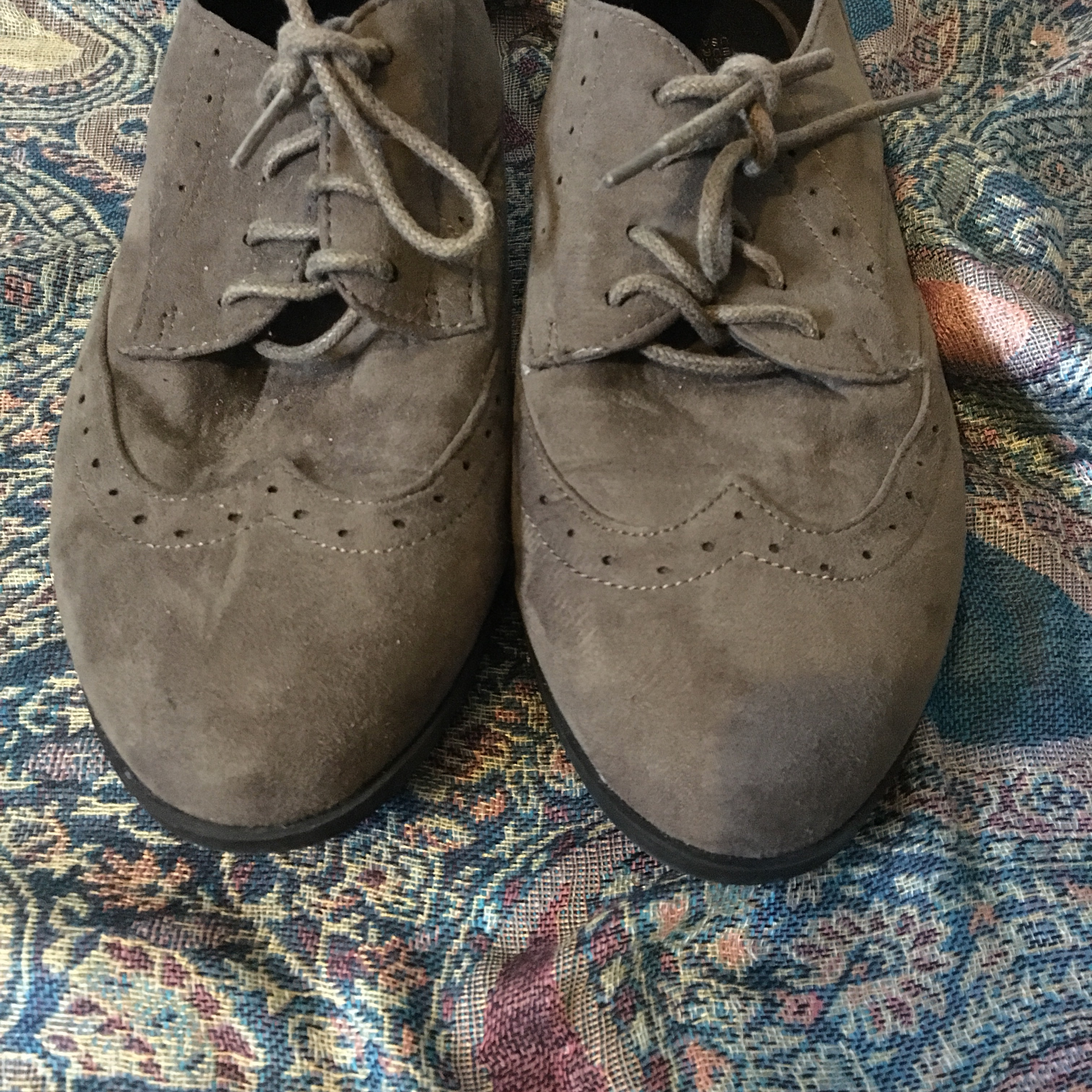 Ladies grey suede brogues shoes with