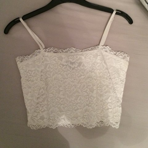 27ac1d43d3dfb New look white lace crop top Great condition Would possibly - Depop