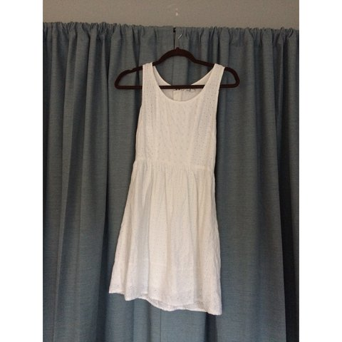 54b768049b64 @meganlspeed. 2 years ago. Monson, United States. White eyelet sundress  with back cutouts. Well-loved but ...