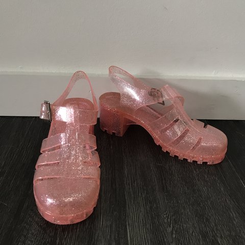 Pink sparkly jelly shoes in great