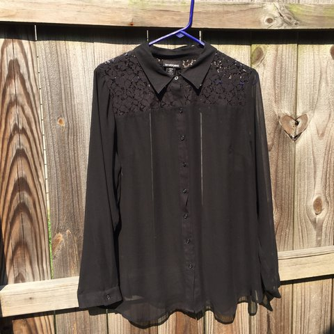 c61016872b95 A button up with floral lace detailing from Lane Bryant size - Depop