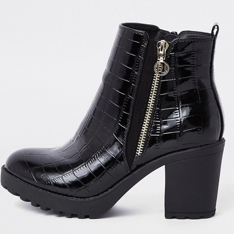 Black chunky croc embossed ankle boots