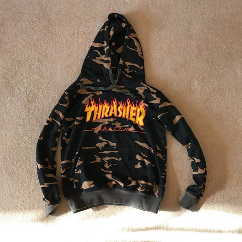 THRASHER Camo Flame Hoodie Selling as it s too small. but - Depop 3662c9aa1