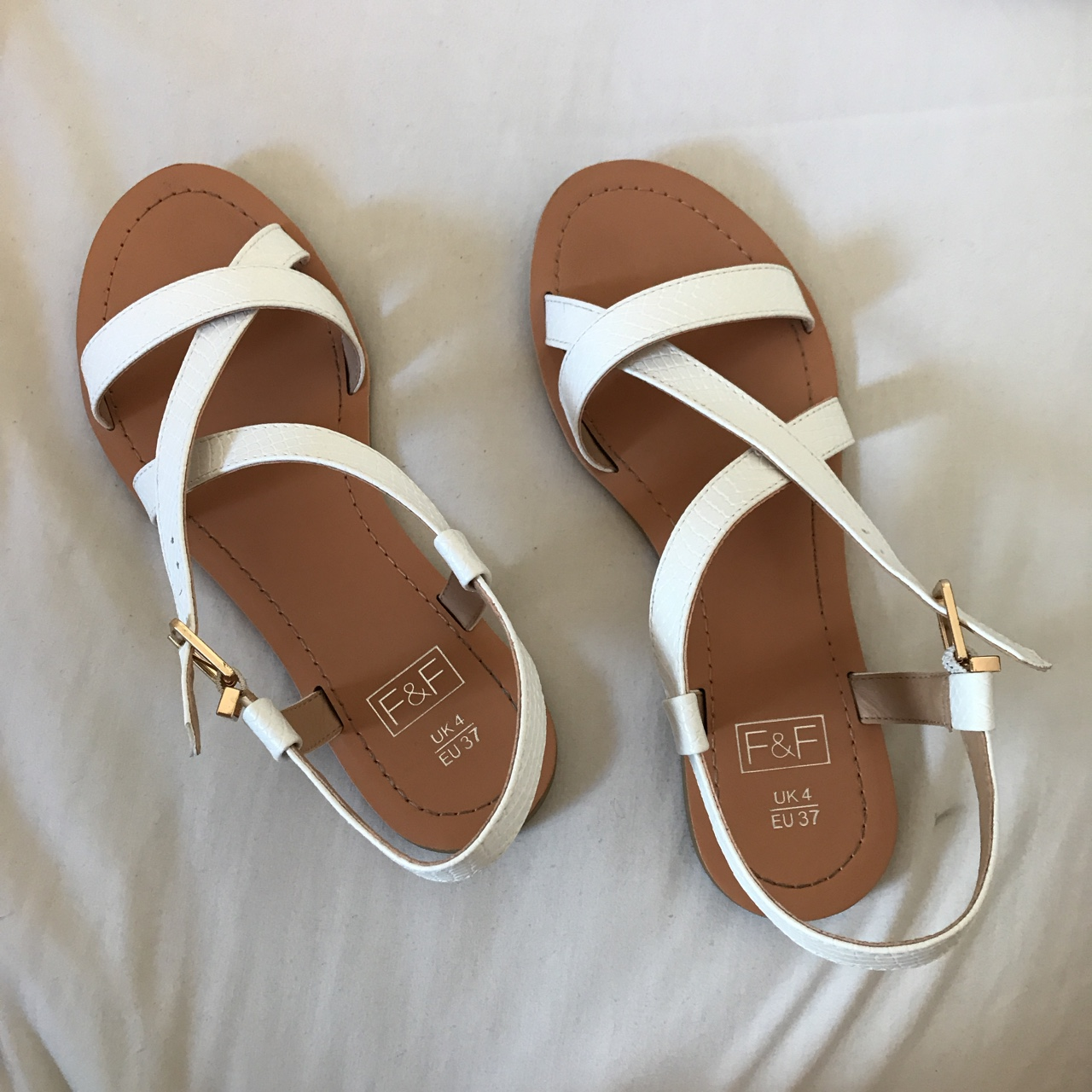 how to buy skate shoes undefeated x White and tanned strap sandals from Tesco size 4,... - Depop