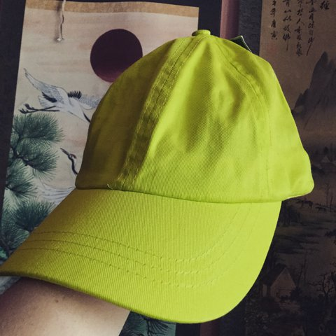 8256a4e9cd019 PRICE DROP Neon yellow green slime colored dad hat baseball - Depop