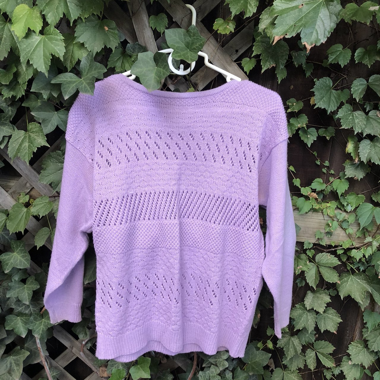 Vintage 70s 80s lilac knit pullover Tag says large but runs - Depop 989a0e1ba
