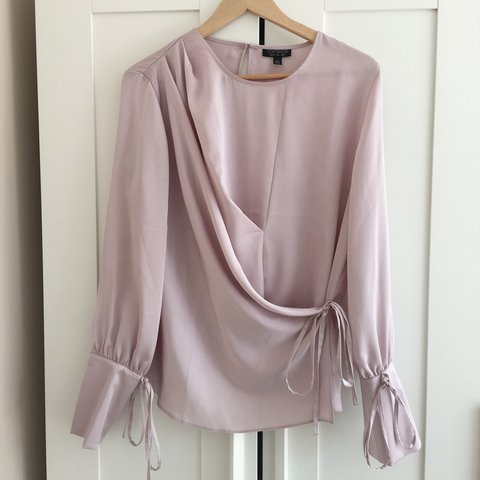922afe420059b2 This season TOPSHOP lilac pinky wrap-over silk blouse with + - Depop