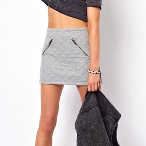 b2b7f4d50 @dreadlokholiday. 2 years ago. Bristol, United Kingdom. ASOS grey quilted  mini skirt with zips.