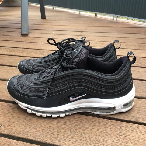 b2f674ab00a5 nike air max 97 s black with white sole worn once very good - Depop