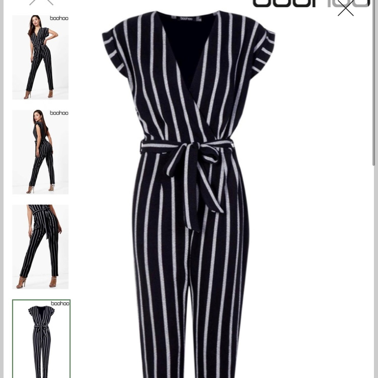a0aa8d6fe733 Boohoo striped jumpsuit with tie belt Cigarette and white a - Depop