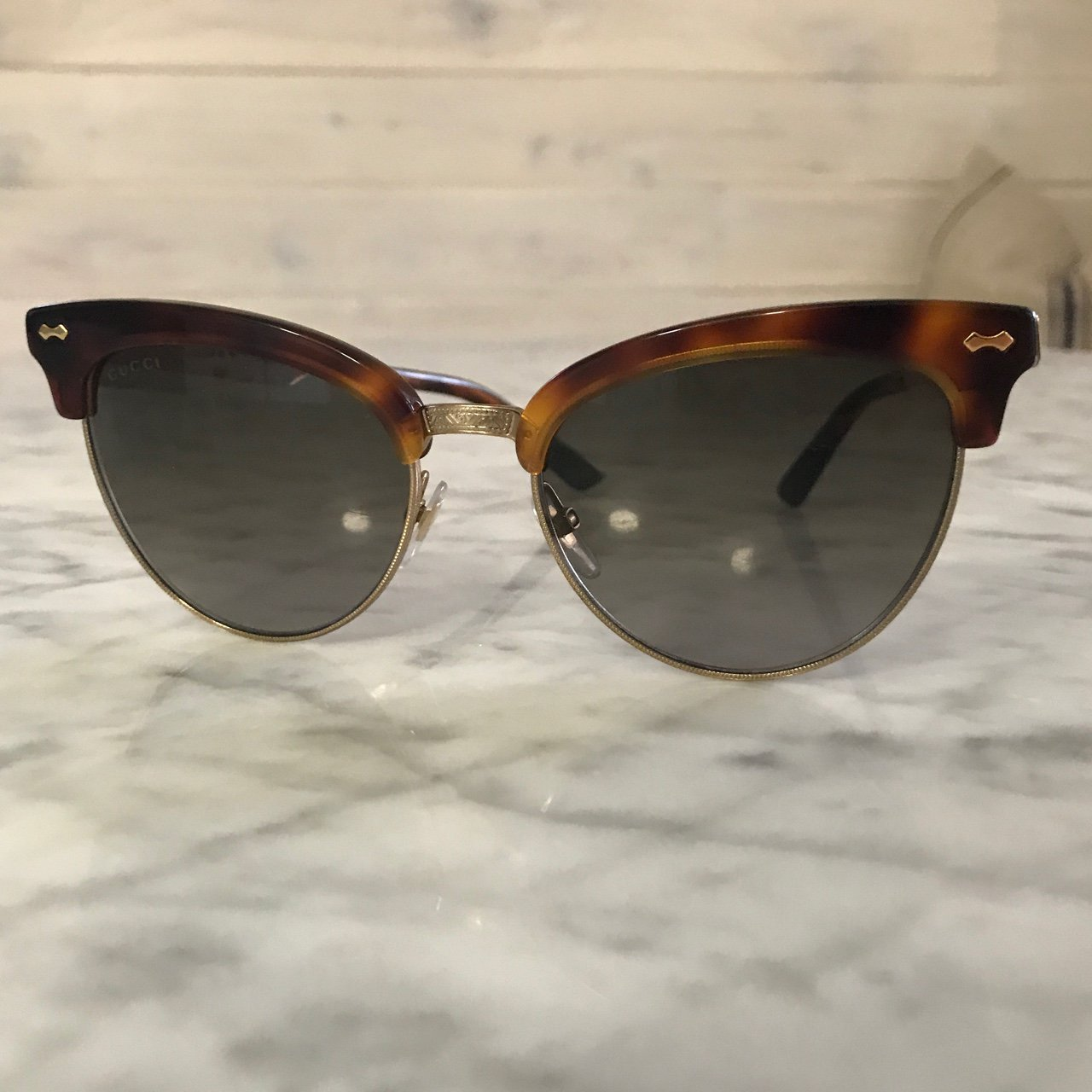 a0198b3ce31 Authentic Gucci cat eye sunglasses. Gold metal engraved with - Depop