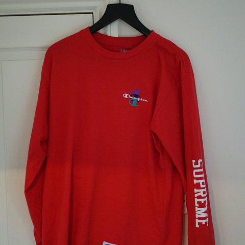 5050855c2e8 Supreme X Champion stacked C long sleeve tee in red size buy - Depop