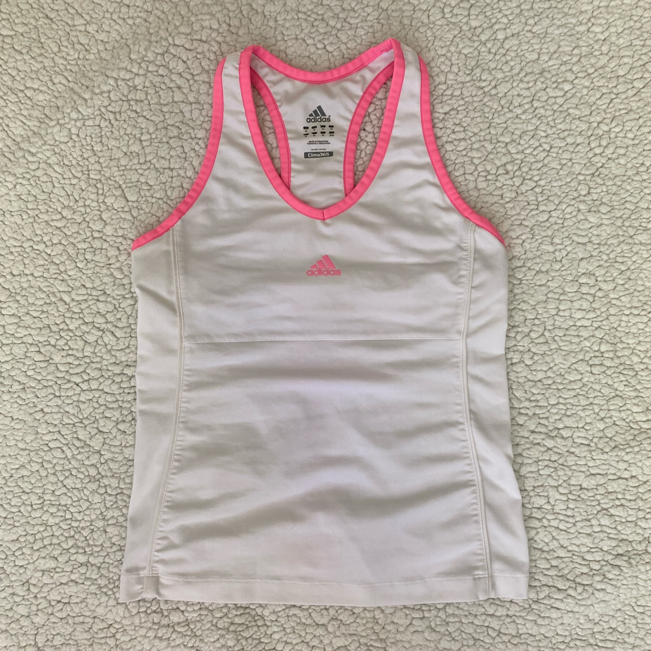 Girly Hot Pink and White Adidas Activewear Racerback Top💕
