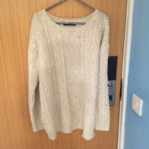 dc33539f707 Oversized Cream cable knit round neck jumper! From Primark. - Depop