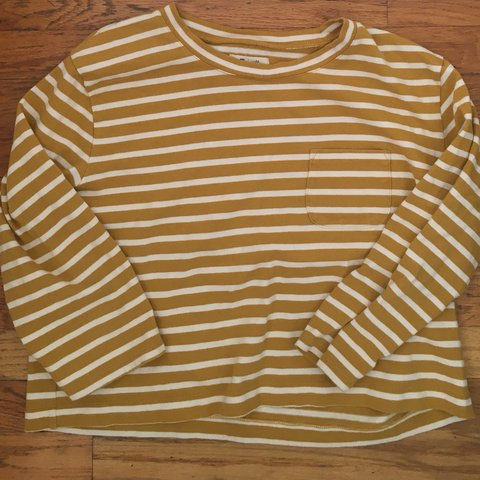 d974895d Madewell boxy cropped long sleeved tee, curry yellow. This a - Depop