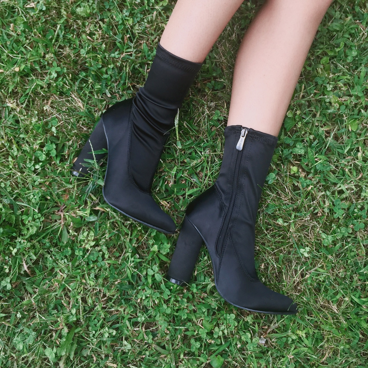 BLACK SATIN SOCK BOOTS (SIZE 6.5) from