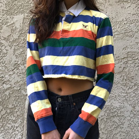 1420c6c26abd74 Vintage cropped rugby long sleeve striped polo shirt with I - Depop