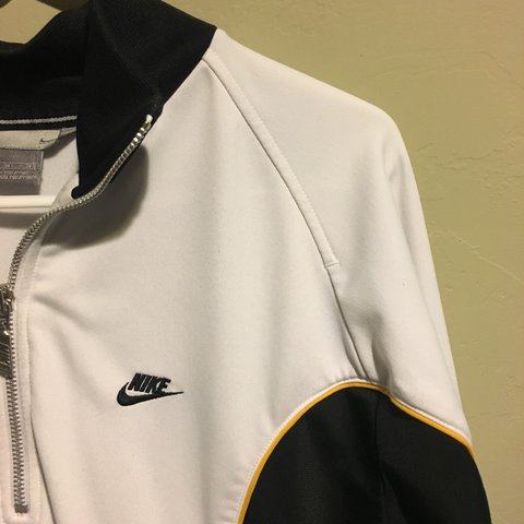 7066bce854 PERFECT CONDITION NIKE HALF ZIP BLACK WHITE AND adore this - Depop