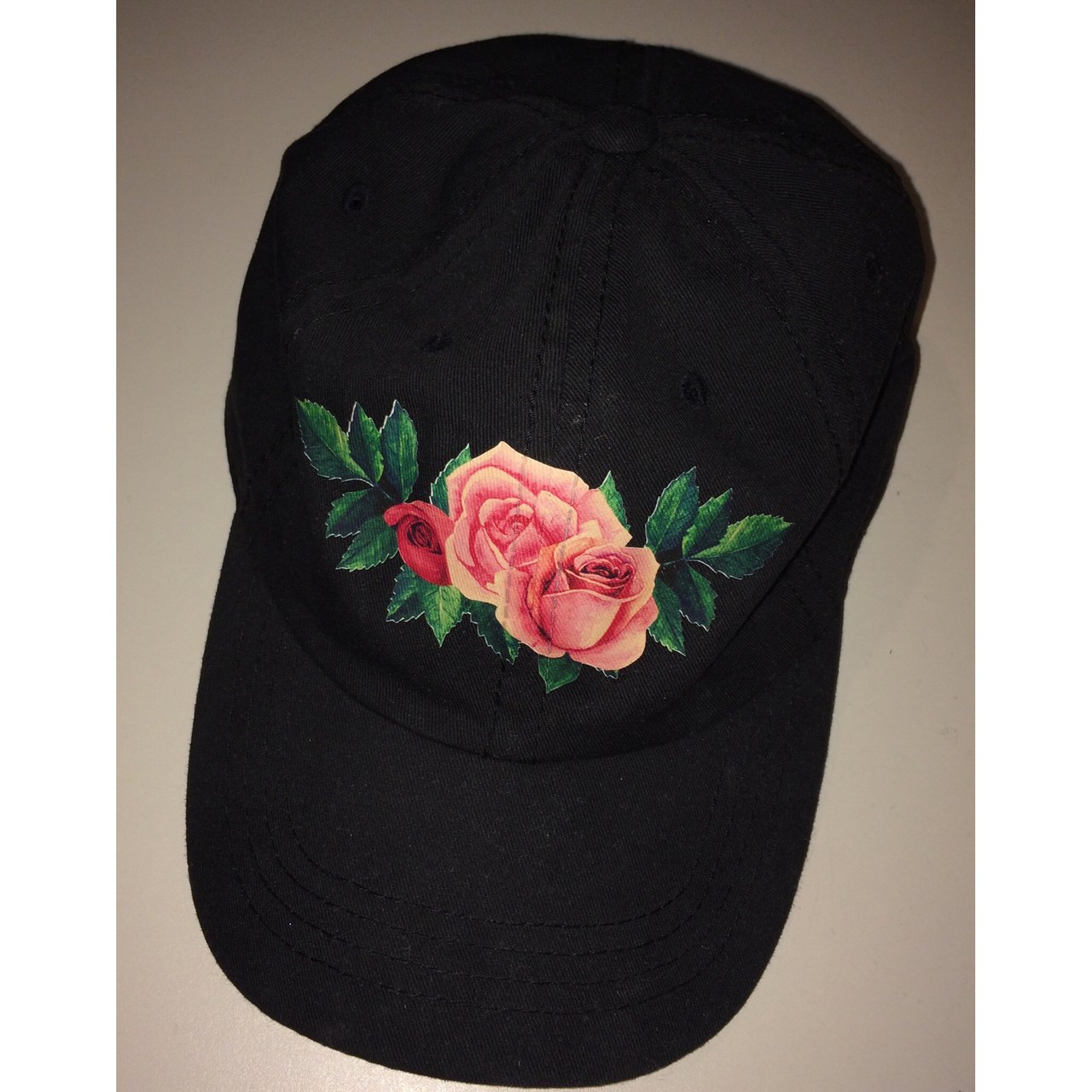 Black hat with roses on the front  hat  dadhat  black  hats - Depop b86dbc7b515