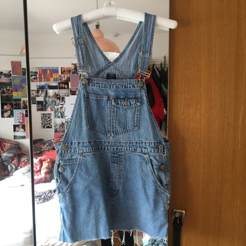 80682e0a00c UO Gap denim dungaree skirt size M. Never wear them anymore - Depop