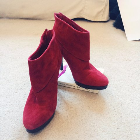1cce15f923b Steve Madden Red Suede Ankle Boots  stevemadden  red  suede - Depop