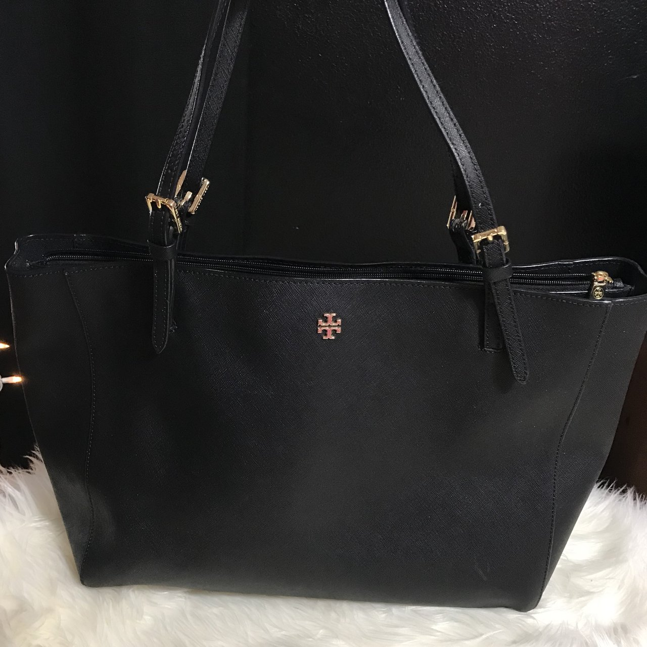 bf516cea2c13 Tory Burch black Large York buckle tote. Black saffiano with - Depop