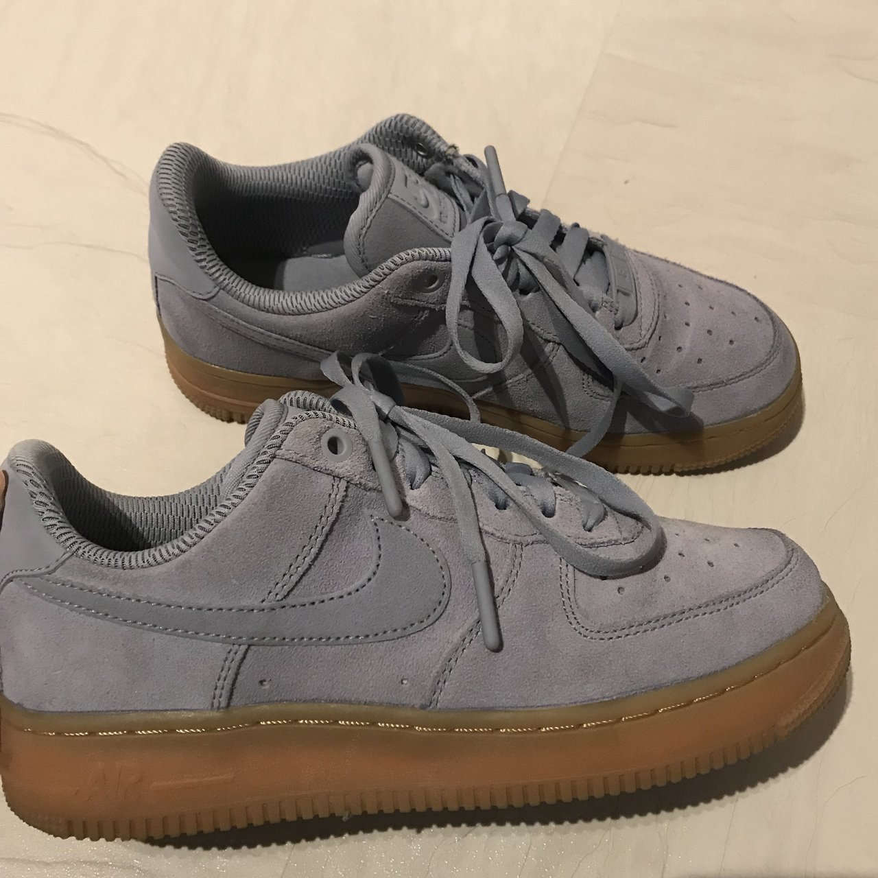 """cheap for discount ccea0 44faf Nike Air Force 1 """"Glacier Grey""""   light blue suede with gum - Depop"""