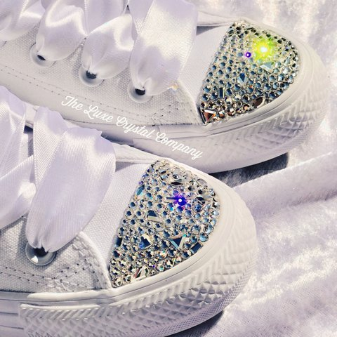 424e181a9a85 Luxe Crystal Customs Converse in Mono White with Swarovski 4 - Depop
