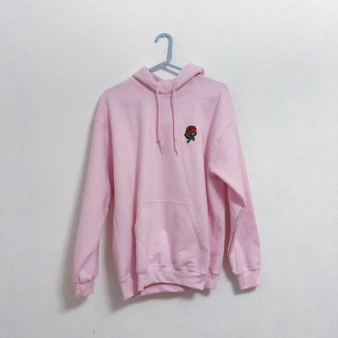 New Pink Hoodie With Rose On Chest By Artist Union 1st Pink Depop