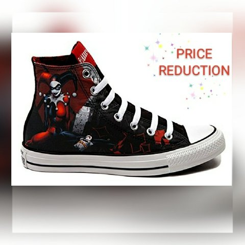 df6f4ecbae69 DC Harley Quinn high top Converse shoes. Size 6 but fits is - Depop