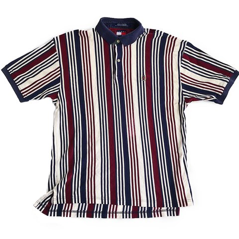 07a727c82 @thriftstorepunk. last year. Wilson, United States. Vintage 90s striped  Tommy Hilfiger polo shirt. Men's size large.