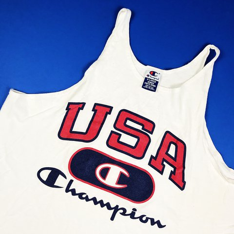 3a711409 @thriftstorepunk. 11 months ago. Wilson, United States. Vintage 90s made in  USA Champion USA huge logo spellout tank top. Tagged men's size XL ...