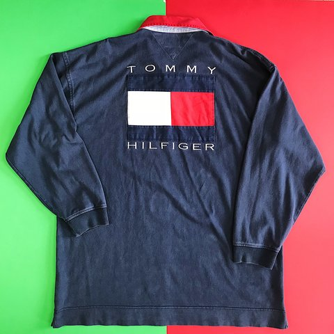 eb579e78 @thriftstorepunk. 7 months ago. Wilson, United States. Tommy Hilfiger  supergrail. Vintage 90s Big flag embroidered longsleeve polo rugby shirt /  Small ...